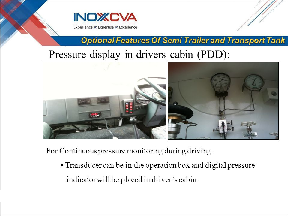 For Continuous pressure monitoring during driving.