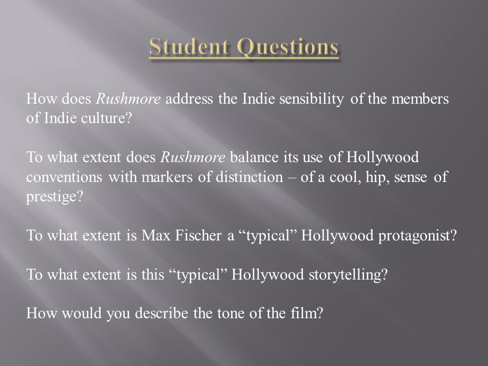 Imagined Hollywood acts as foil: various acts of differentiation Complex or flawed protagonists Looser/complex/subjective narration Visual style beyond needs of story Ambiguous or undulating tone Self-reflexivity = authorial presence