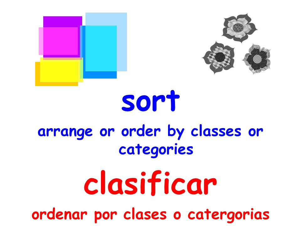 sort arrange or order by classes or categories clasificar ordenar por clases o catergorias