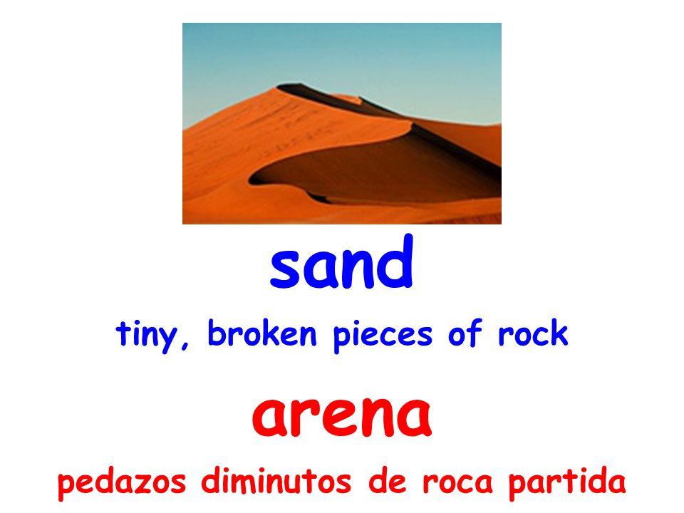 sand tiny, broken pieces of rock arena pedazos diminutos de roca partida