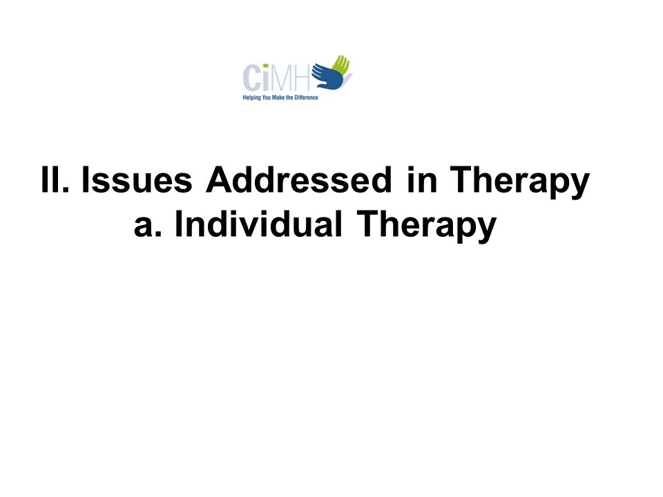 II. Issues Addressed in Therapy a. Individual Therapy