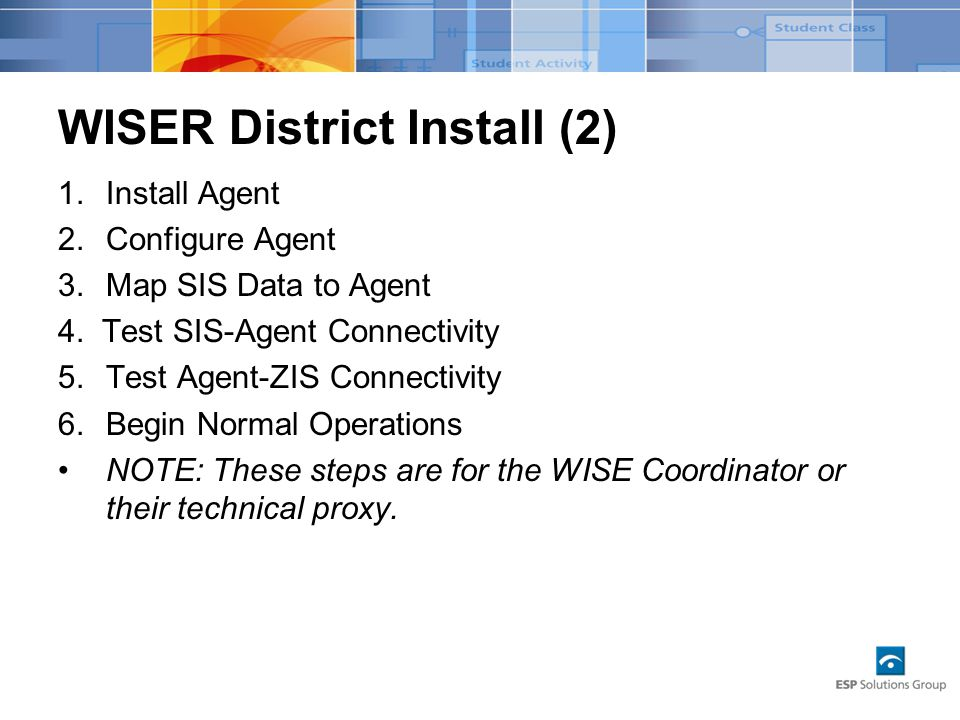 WISER District Install (2) 1.Install Agent 2.Configure Agent 3.Map SIS Data to Agent 4.