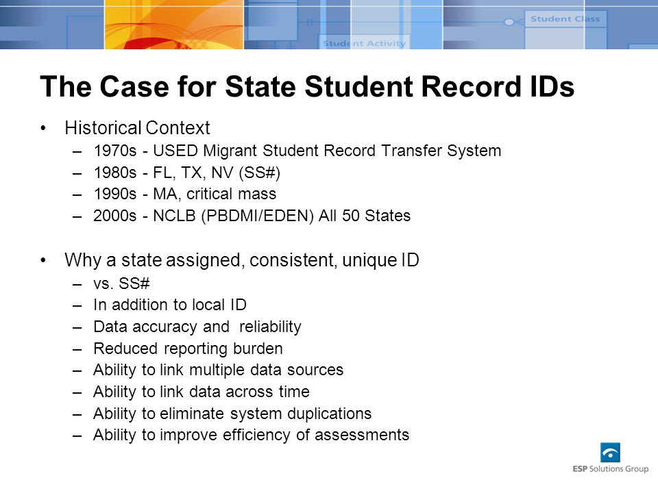 The Case for State Student Record IDs Historical Context –1970s - USED Migrant Student Record Transfer System –1980s - FL, TX, NV (SS#) –1990s - MA, critical mass –2000s - NCLB (PBDMI/EDEN) All 50 States Why a state assigned, consistent, unique ID –vs.