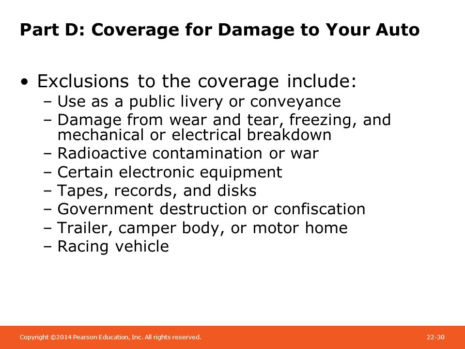 Copyright ©2014 Pearson Education, Inc. All rights reserved.22-30 Part D: Coverage for Damage to Your Auto Exclusions to the coverage include: –Use as