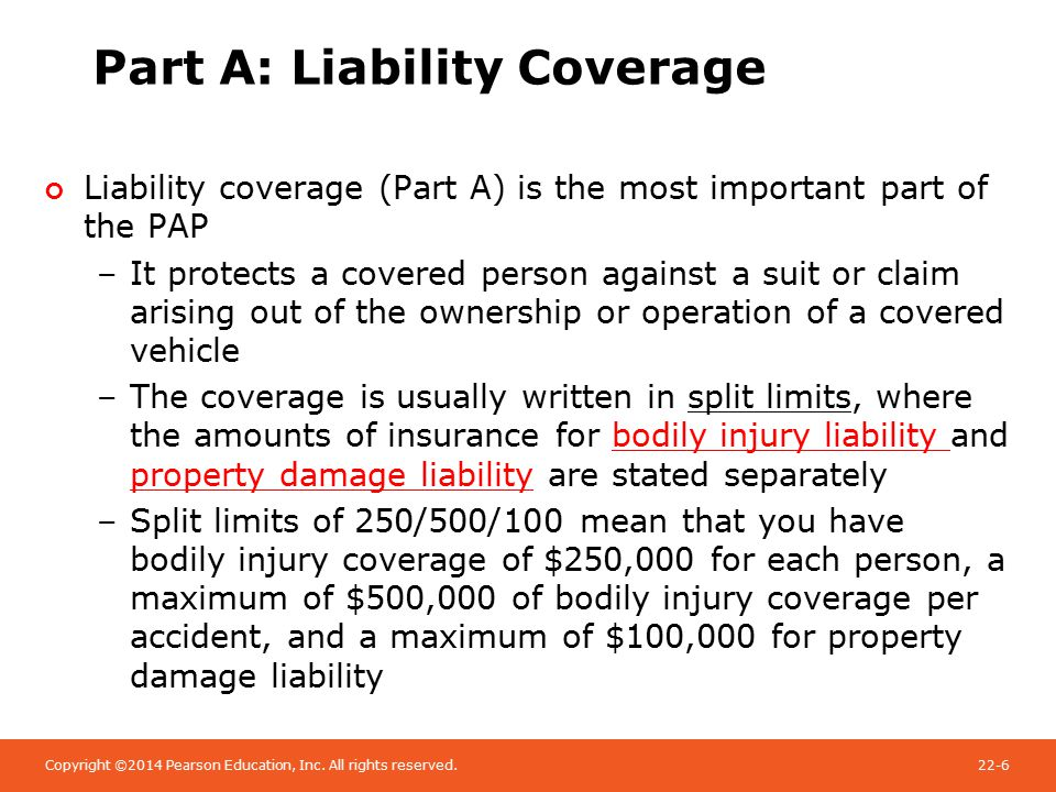 Copyright ©2014 Pearson Education, Inc. All rights reserved.22-6 Part A: Liability Coverage Liability coverage (Part A) is the most important part of