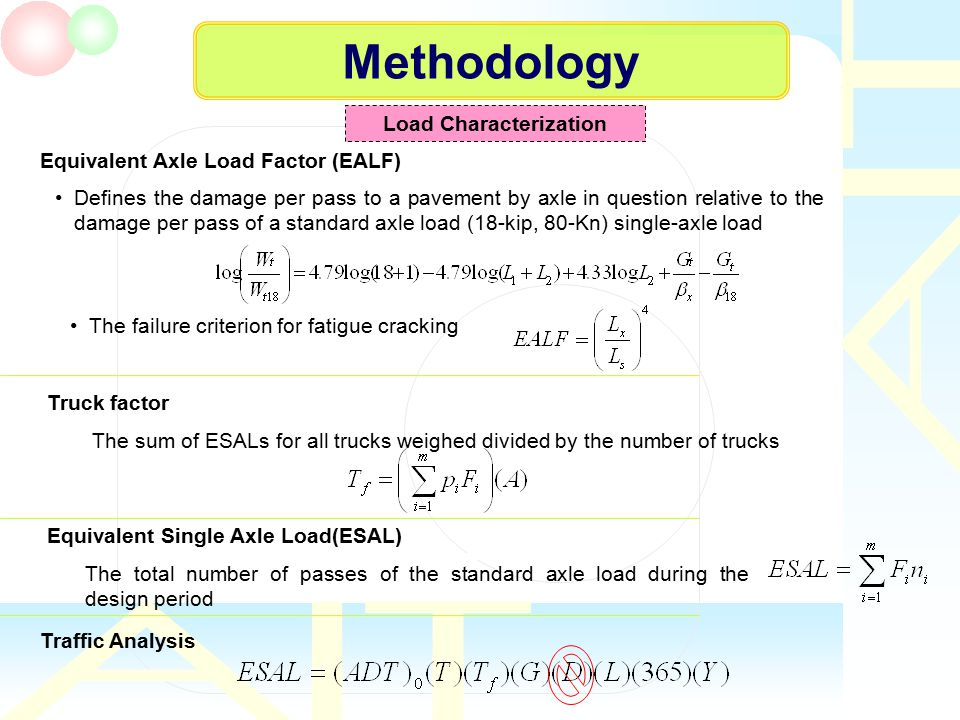 Methodology Load Characterization Equivalent Axle Load Factor (EALF) Defines the damage per pass to a pavement by axle in question relative to the dam