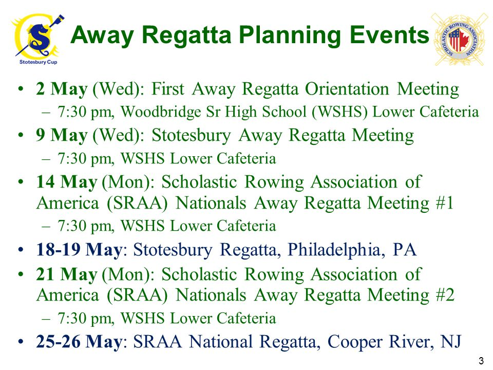 Standards of Behavior for Away Regattas Be courteous, no drugs/alcohol, no cursing, good manners Respect adult chaperones (comply with directions, promptly / courteously) Travel in groups when away from Woodbridge's regatta site Need escort outside area between the boat trailer & regatta site No staking out floor space in tent area.