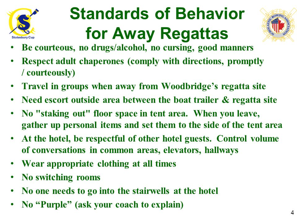 Regatta Safety Keep eye on weather; pack accordingly, use sun screen, stay hydrated (athletes & parents) Watch bus, trailer and car traffic Be careful during set-up/tear-down, and moving on/off buses & vehicles (avoid injury) If you feel ill or get injured (athletes or parent), tell someone immediately 5 Be Safe