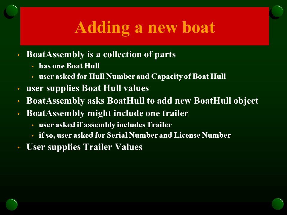 BoatAssembly is a collection of parts has one Boat Hull user asked for Hull Number and Capacity of Boat Hull user supplies Boat Hull values BoatAssemb
