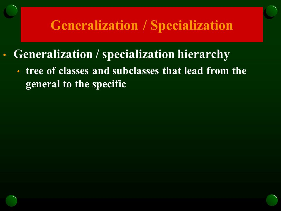 Generalization / specialization hierarchy tree of classes and subclasses that lead from the general to the specific Generalization / Specialization