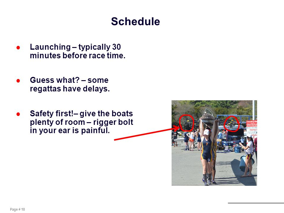 Page # 18 Schedule l Launching – typically 30 minutes before race time.