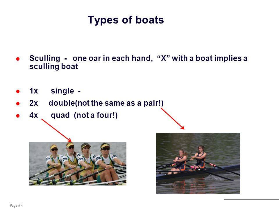 Page # 4 Types of boats l Sculling - one oar in each hand, X with a boat implies a sculling boat l 1x single - l 2x double(not the same as a pair!) l 4x quad (not a four!)