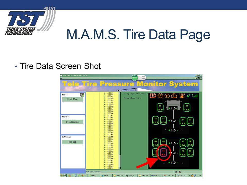 M.A.M.S. Tire Data Page Tire Data Screen Shot
