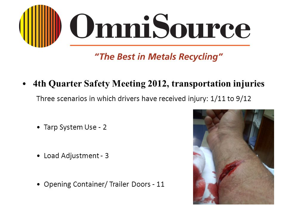 4th Quarter Safety Meeting 2012, transportation injuries Three scenarios in which drivers have received injury: 1/11 to 9/12 Tarp System Use - 2 Load Adjustment - 3 Opening Container/ Trailer Doors - 11