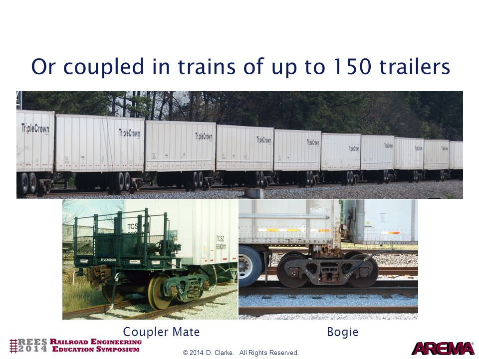 © 2014 D. Clarke. All Rights Reserved. Or coupled in trains of up to 150 trailers Coupler MateBogie