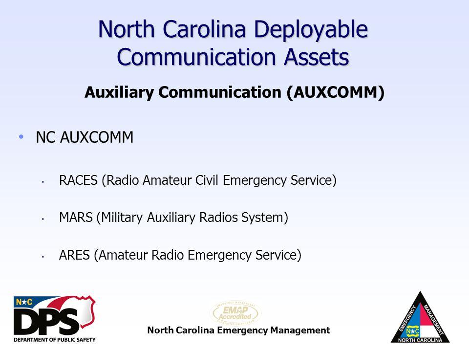 North Carolina Emergency Management North Carolina Deployable Communication Assets Radio Trailers (RT)