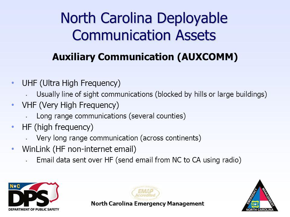 North Carolina Emergency Management North Carolina Deployable Communication Assets NCEM Satellite Communications Trailer