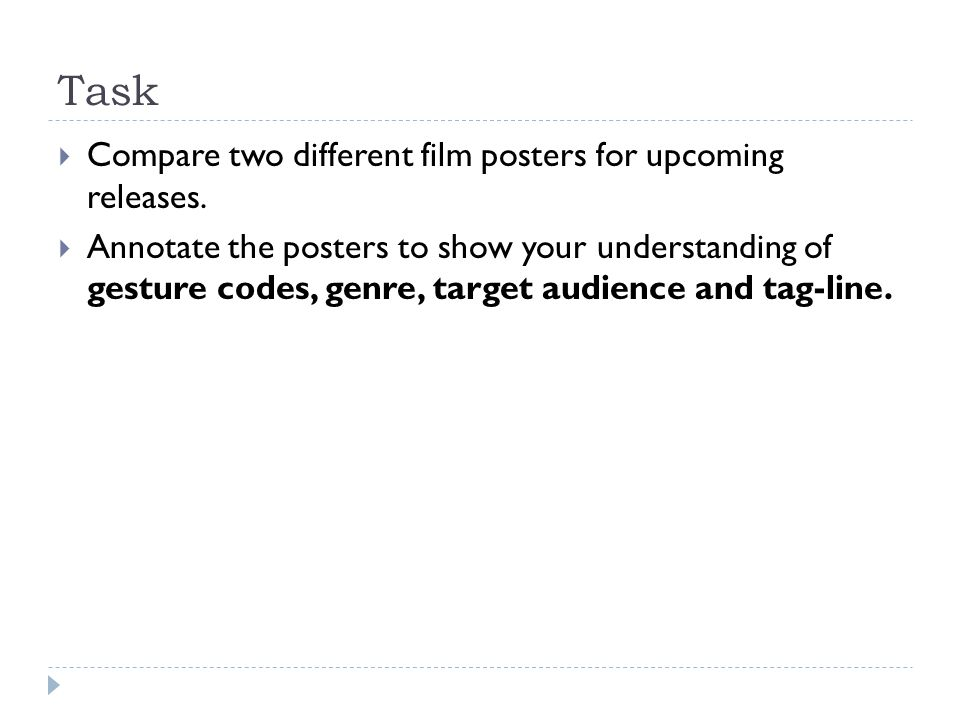 Task  Compare two different film posters for upcoming releases.
