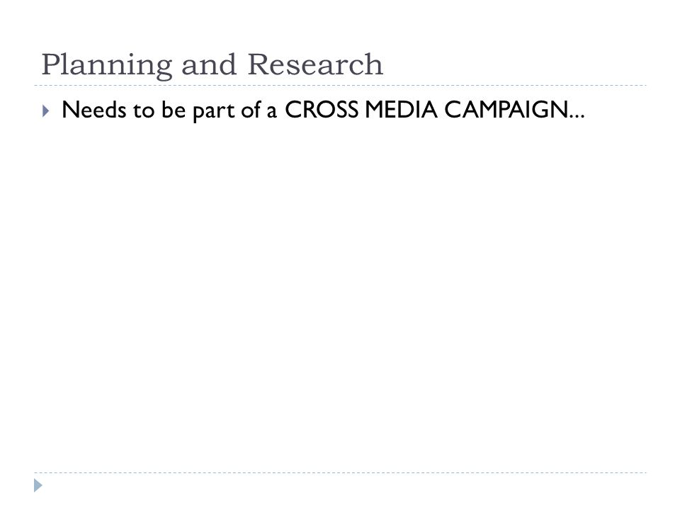 Planning and Research  Needs to be part of a CROSS MEDIA CAMPAIGN...