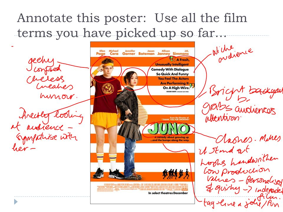 Annotate this poster: Use all the film terms you have picked up so far...