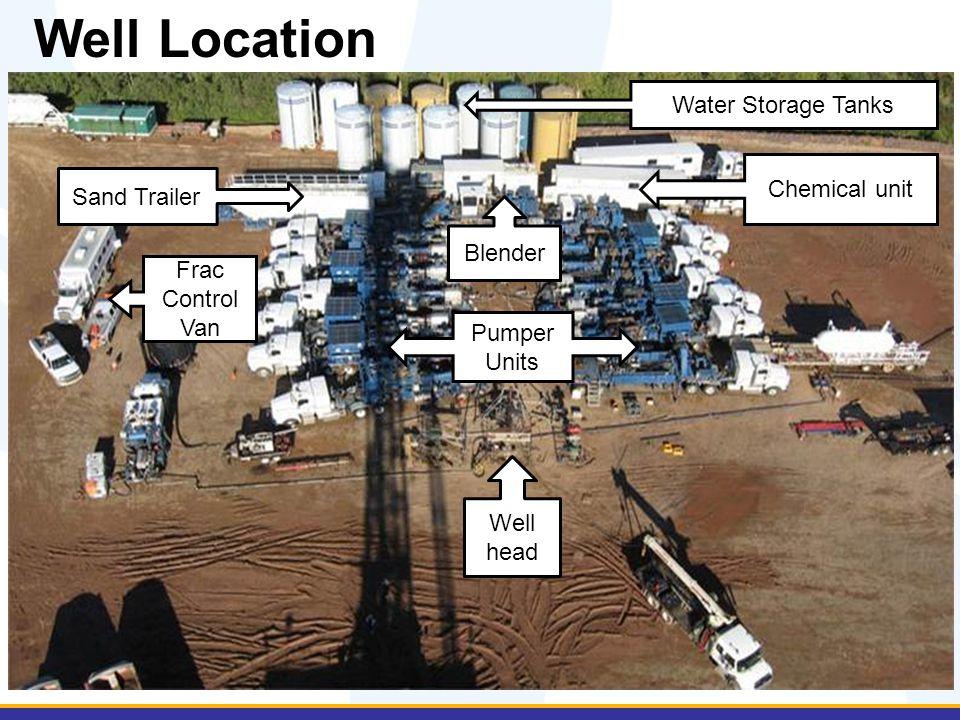 Well Location Well head Frac Control Van Sand Trailer Water Storage Tanks Blender Chemical unit Pumper Units