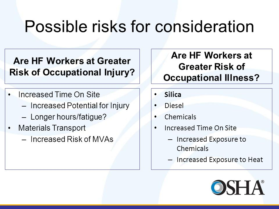 Are HF Workers at Greater Risk of Occupational Injury.