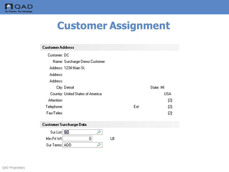 QAD Proprietary Customer Assignment