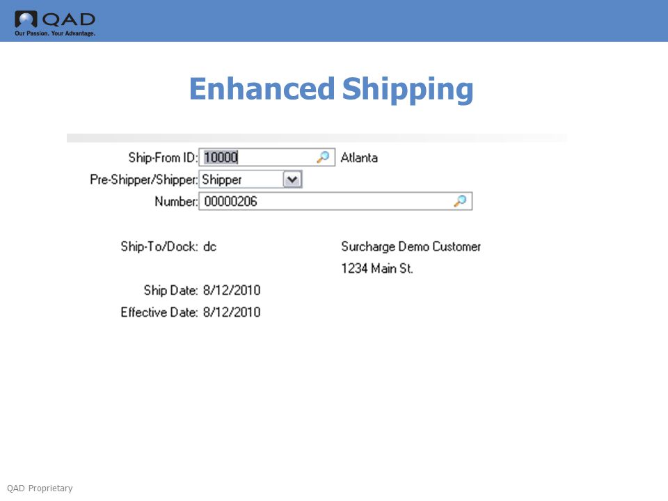 QAD Proprietary Enhanced Shipping