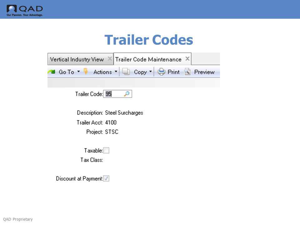 QAD Proprietary Trailer Codes