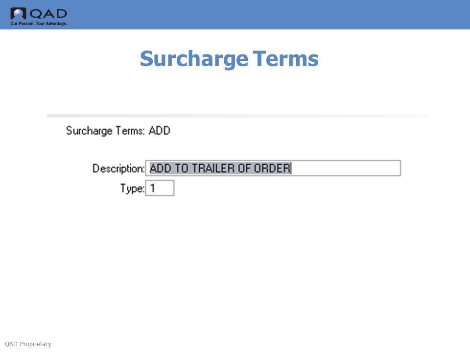 QAD Proprietary Surcharge Class