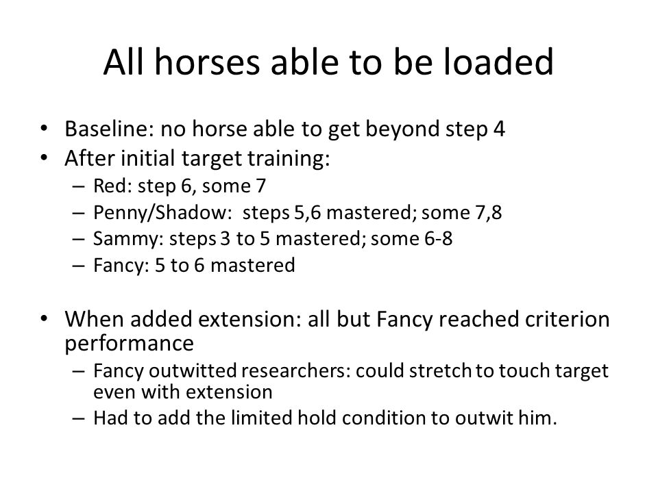 All horses able to be loaded Baseline: no horse able to get beyond step 4 After initial target training: – Red: step 6, some 7 – Penny/Shadow: steps 5,6 mastered; some 7,8 – Sammy: steps 3 to 5 mastered; some 6-8 – Fancy: 5 to 6 mastered When added extension: all but Fancy reached criterion performance – Fancy outwitted researchers: could stretch to touch target even with extension – Had to add the limited hold condition to outwit him.