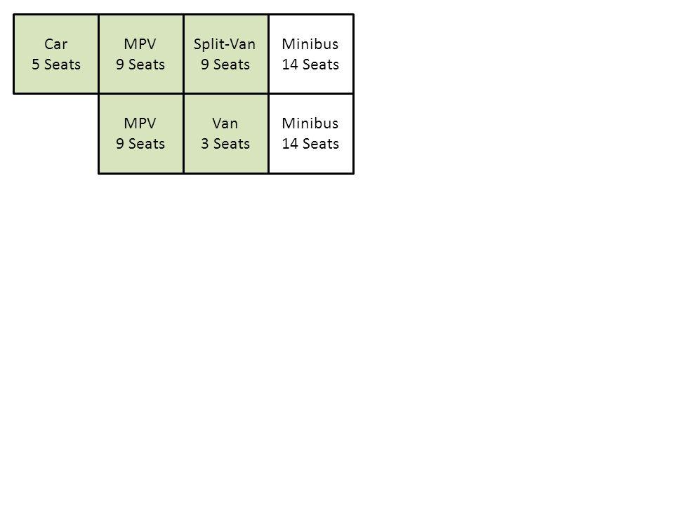 Car 5 Seats MPV 9 Seats Split-Van 9 Seats Van 3 Seats Minibus 14 Seats MPV 9 Seats Minibus 14 Seats