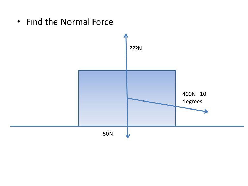 Find the Normal Force 50N ???N 400N 10 degrees