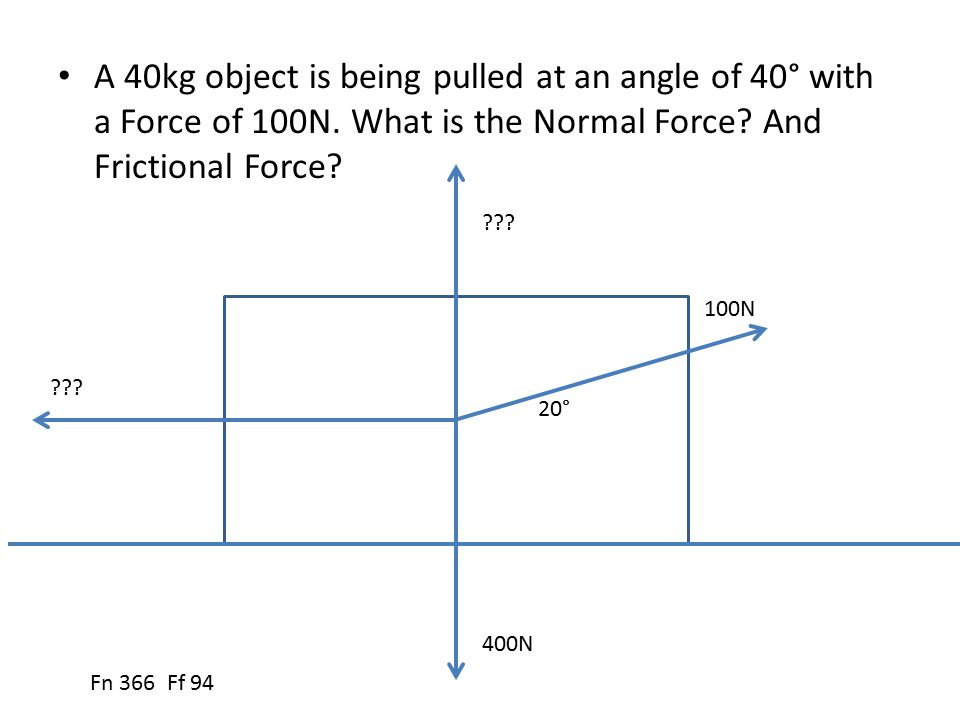 A 40kg object is being pulled at an angle of 40° with a Force of 100N. What is the Normal Force? And Frictional Force? 20° 100N 400N ??? Fn 366 Ff 94