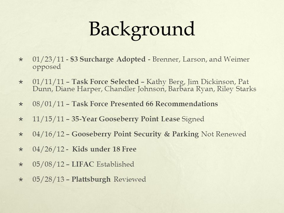 Background  01/23/11 - $3 Surcharge Adopted - Brenner, Larson, and Weimer opposed  01/11/11 – Task Force Selected – Kathy Berg, Jim Dickinson, Pat D