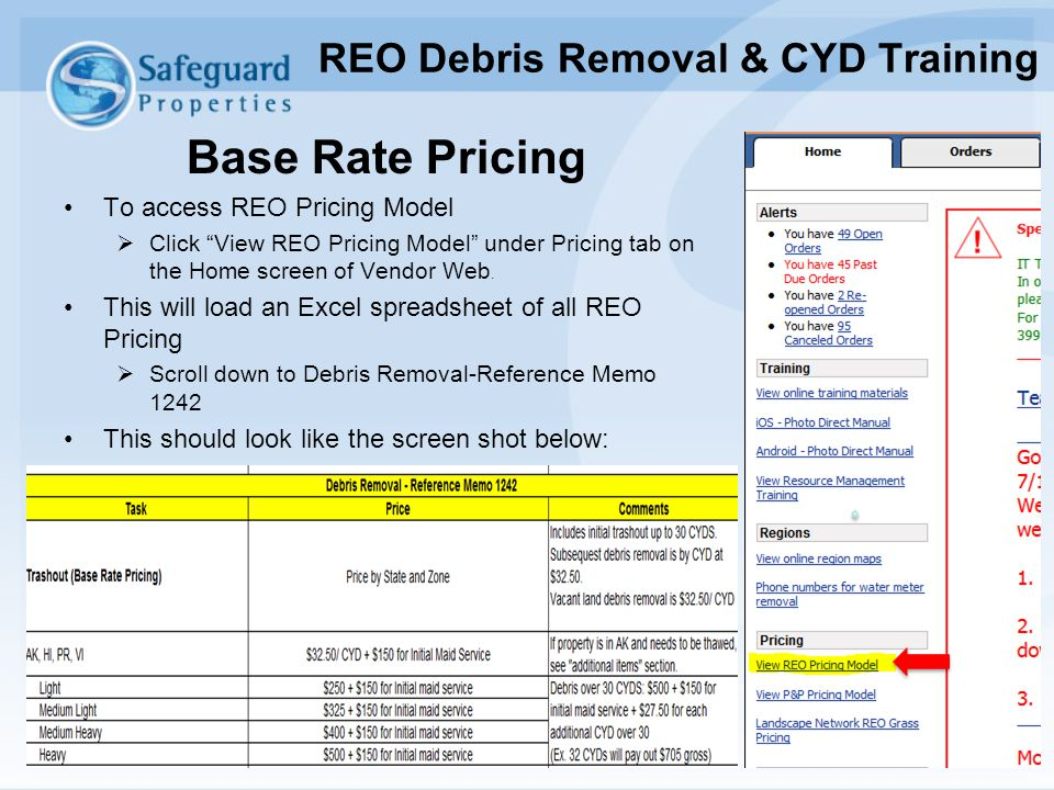 """Base Rate Pricing To access REO Pricing Model  Click """"View REO Pricing Model"""" under Pricing tab on the Home screen of Vendor Web. This will load an E"""