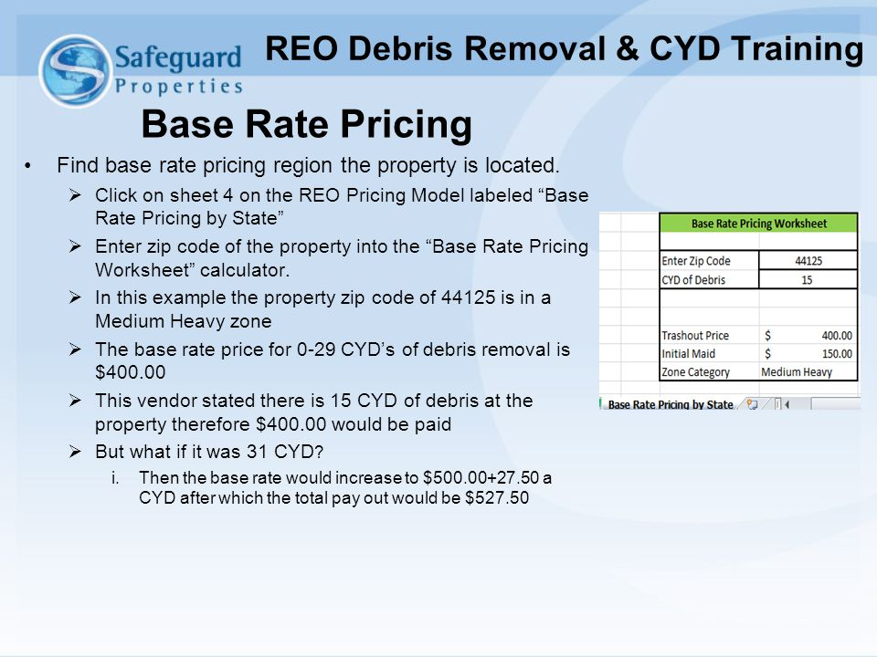 """Base Rate Pricing Find base rate pricing region the property is located.  Click on sheet 4 on the REO Pricing Model labeled """"Base Rate Pricing by Sta"""