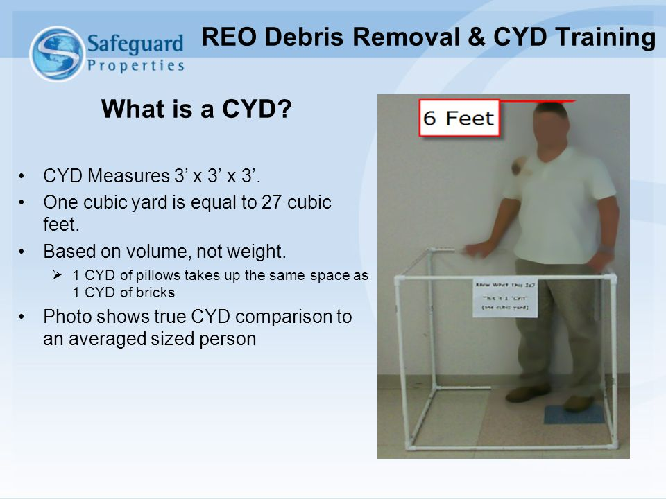 What is a CYD? CYD Measures 3' x 3' x 3'. One cubic yard is equal to 27 cubic feet. Based on volume, not weight.  1 CYD of pillows takes up the same