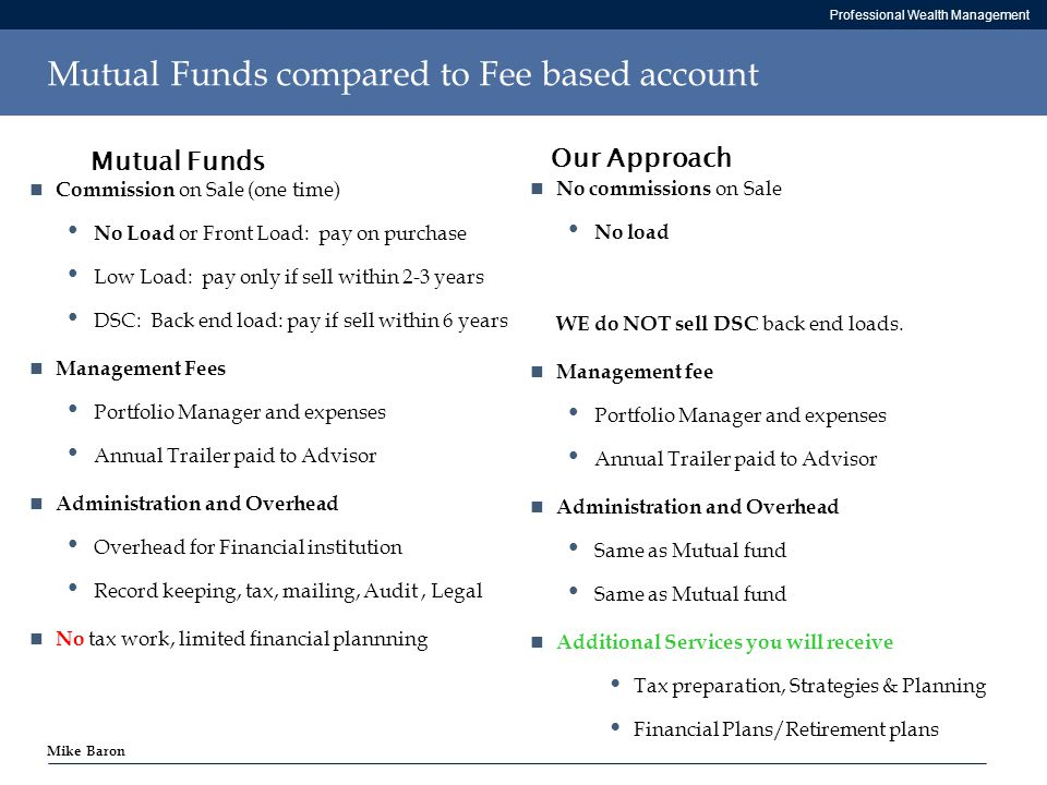 Professional Wealth Management Mike Baron Mutual Funds compared to Fee based account Commission on Sale (one time) No Load or Front Load: pay on purchase Low Load: pay only if sell within 2-3 years DSC: Back end load: pay if sell within 6 years Management Fees Portfolio Manager and expenses Annual Trailer paid to Advisor Administration and Overhead Overhead for Financial institution Record keeping, tax, mailing, Audit, Legal No tax work, limited financial plannning No commissions on Sale No load WE do NOT sell DSC back end loads.