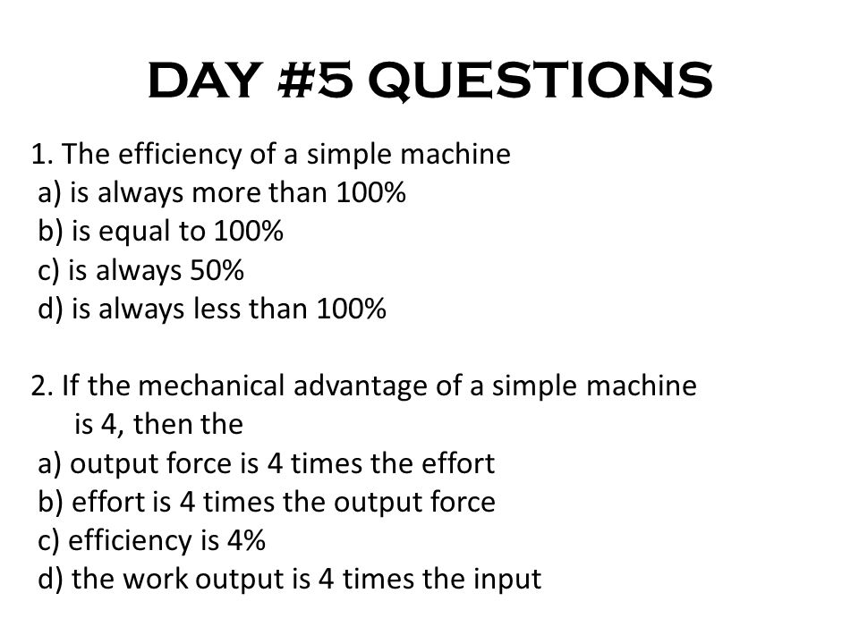 DAY #5 QUESTIONS 1.