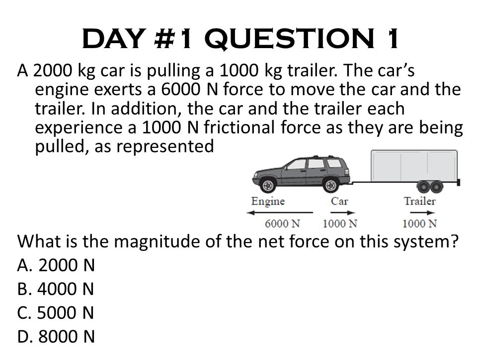 DAY #1 QUESTION 1 A 2000 kg car is pulling a 1000 kg trailer.