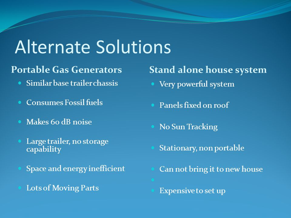 Alternate Solutions Portable Gas Generators Stand alone house system Similar base trailer chassis Consumes Fossil fuels Makes 60 dB noise Large trailer, no storage capability Space and energy inefficient Lots of Moving Parts Very powerful system Panels fixed on roof No Sun Tracking Stationary, non portable Can not bring it to new house Expensive to set up