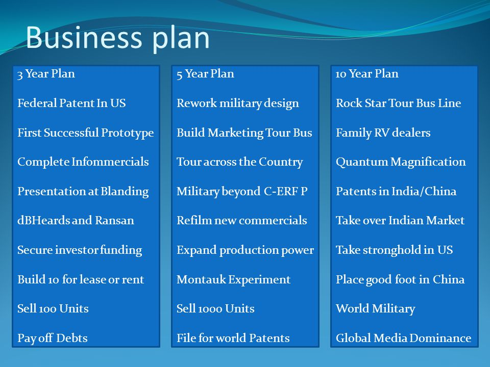 Business plan 10 Year Plan Rock Star Tour Bus Line Family RV dealers Quantum Magnification Patents in India/China Take over Indian Market Take stronghold in US Place good foot in China World Military Global Media Dominance 5 Year Plan Rework military design Build Marketing Tour Bus Tour across the Country Military beyond C-ERF P Refilm new commercials Expand production power Montauk Experiment Sell 1000 Units File for world Patents 3 Year Plan Federal Patent In US First Successful Prototype Complete Infommercials Presentation at Blanding dBHeards and Ransan Secure investor funding Build 10 for lease or rent Sell 100 Units Pay off Debts