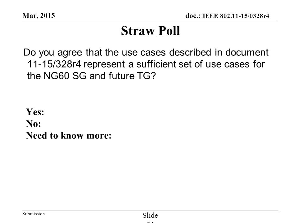 Mar, 2015 doc.: IEEE 802.11-15/0328r4 Submission Slide 24 Do you agree that the use cases described in document 11-15/328r4 represent a sufficient set of use cases for the NG60 SG and future TG.
