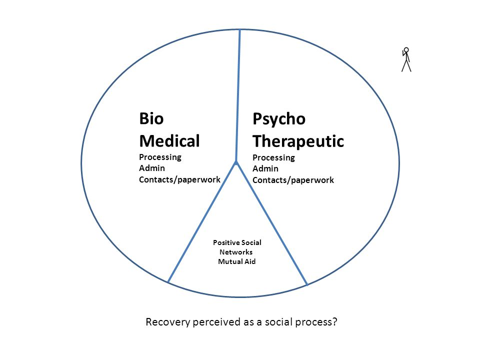 Bio Medical Processing Admin Contacts/paperwork Psycho Therapeutic Processing Admin Contacts/paperwork Positive Social Networks Mutual Aid Recovery perceived as a social process