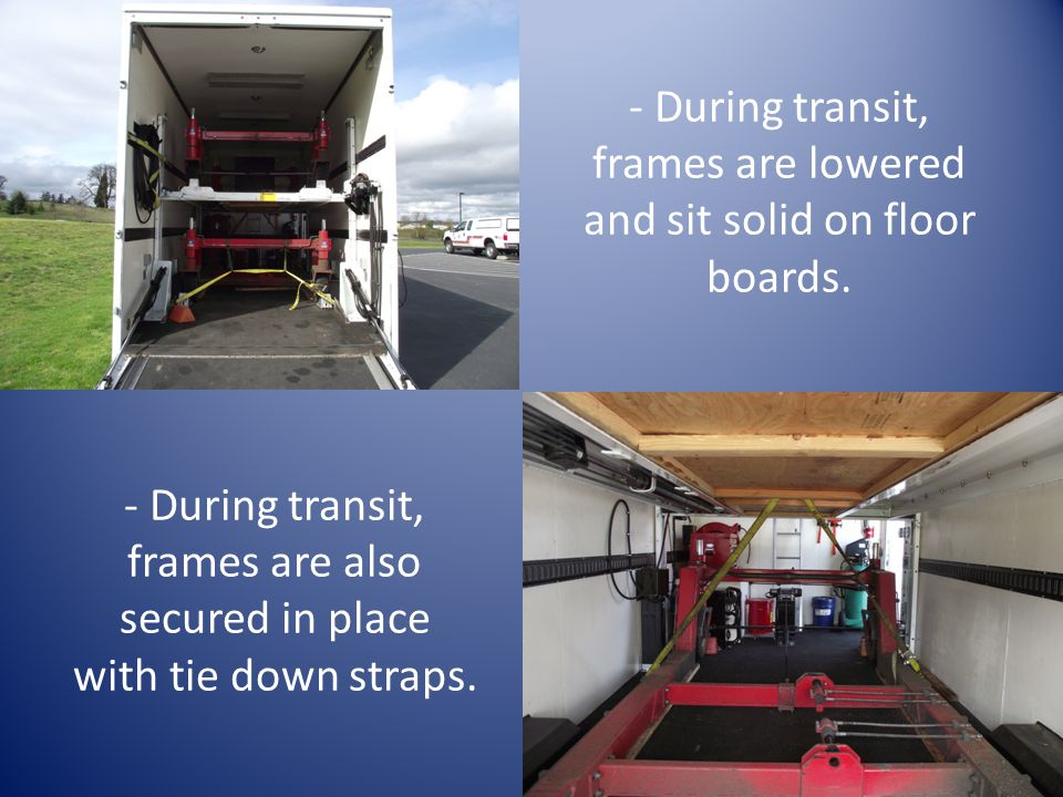 - During transit, frames are lowered and sit solid on floor boards.