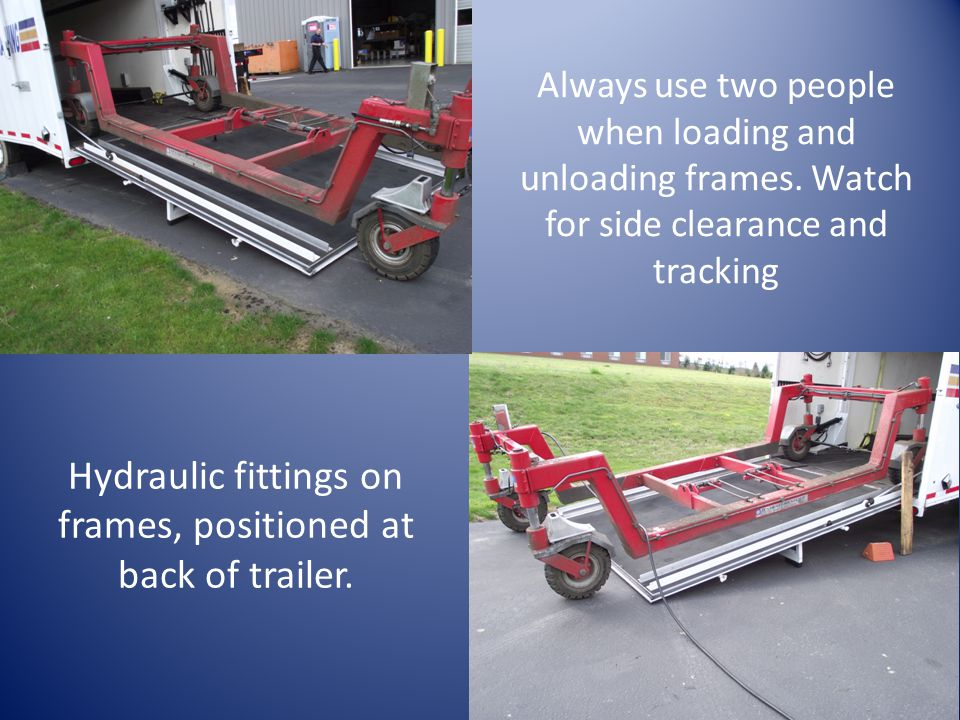 Always use two people when loading and unloading frames.