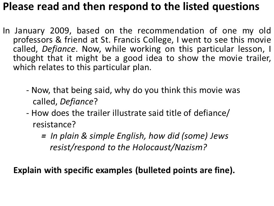 Please read and then respond to the listed questions In January 2009, based on the recommendation of one my old professors & friend at St.