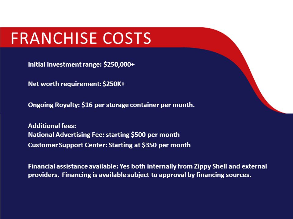 FRANCHISE COSTS Initial investment range: $250,000+ Net worth requirement: $250K+ Ongoing Royalty: $16 per storage container per month. Additional fee
