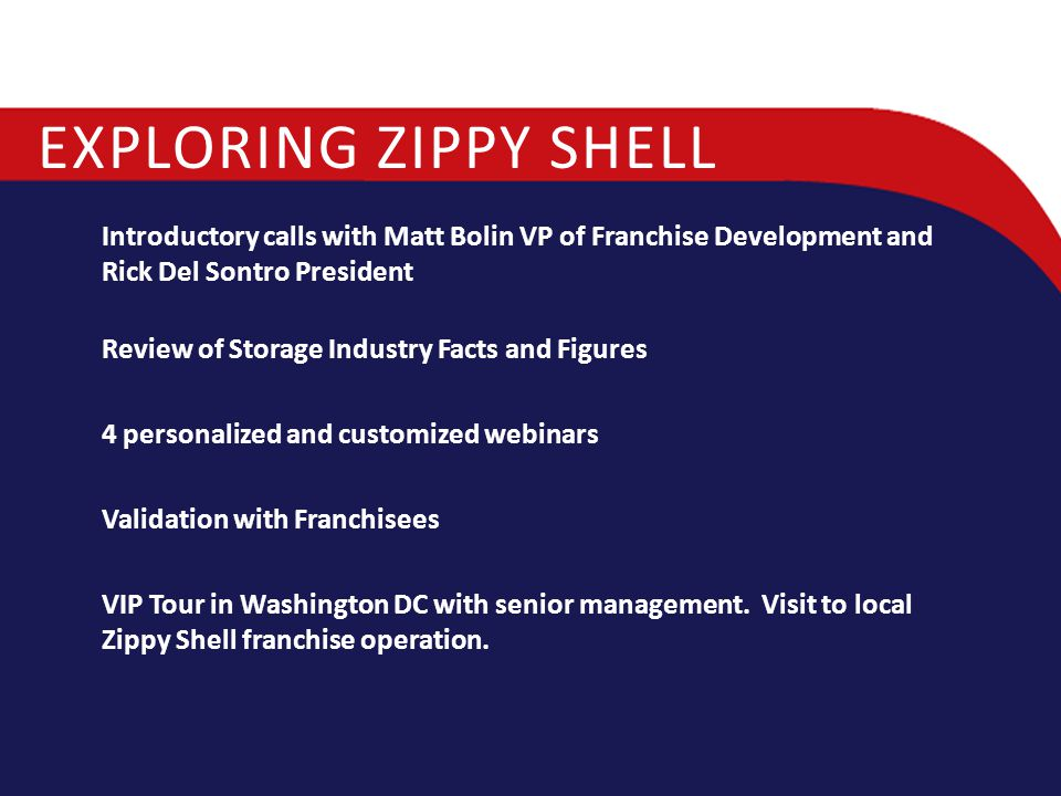 EXPLORING ZIPPY SHELL Introductory calls with Matt Bolin VP of Franchise Development and Rick Del Sontro President Review of Storage Industry Facts an